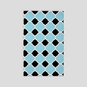 Light Blue and Black Quatrefoil Pattern Area Rug
