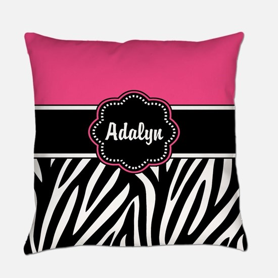 Pink Zebra Print Personalized Everyday Pillow