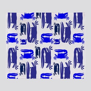 Fiddler Crabs Blue Throw Blanket