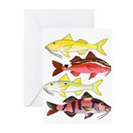 Four Indo-Pacific Goatfish Greeting Cards