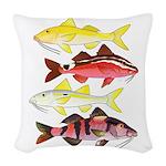 Four Indo-Pacific Goatfish Woven Throw Pillow