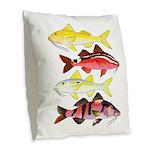 Four Indo-Pacific Goatfish Burlap Throw Pillow