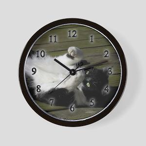 Tuxedo Cat Clock Wall Clock