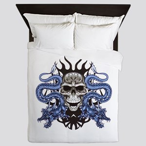 Blue Skull Queen Duvet