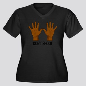 Don't Shoot Women's Plus Size V-Neck Dark T-Shirt