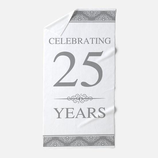 25th Wedding Anniversary Beach Towel