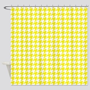 Yellow Houndstooth Pattern Shower Curtain
