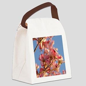 Pink Dogwood blue sky Canvas Lunch Bag
