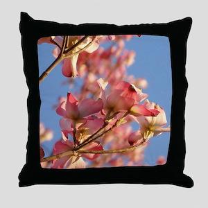 Pink Dogwood blue sky Throw Pillow