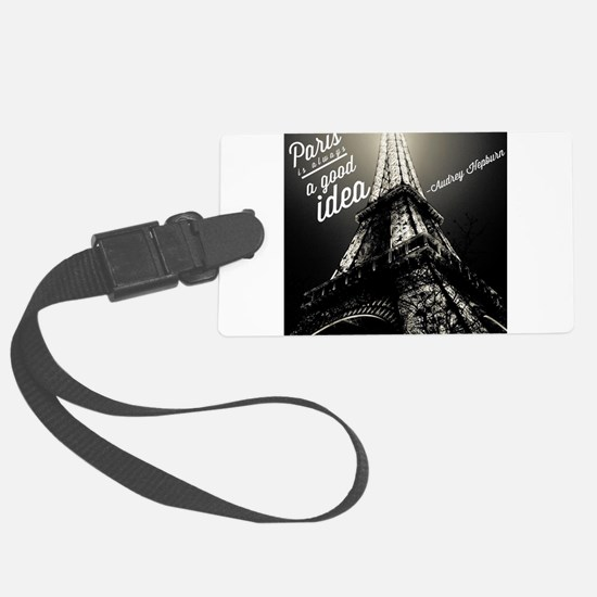 Audrey Hepburn Paris Large Luggage Tag