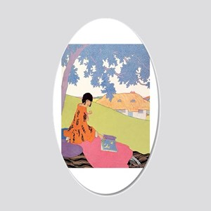 VOGUE - Woman Reading in the 20x12 Oval Wall Decal