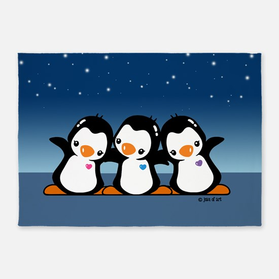 Three Penguins 5'x7'area Rug