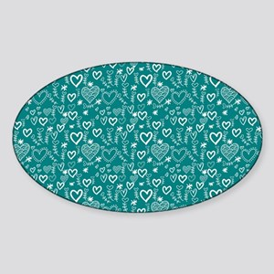 Cute Doodle Hearts Pattern Backgrou Sticker (Oval)