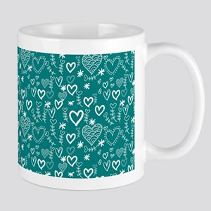 Cute Doodle Hearts Pattern Background Mug