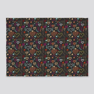 Cute Doodle Hearts Pattern Backgrou 5'x7'Area Rug