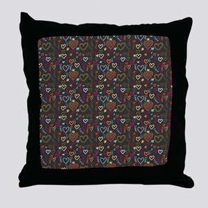 Cute Doodle Hearts Pattern Background Throw Pillow