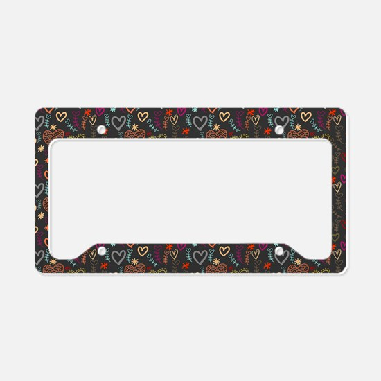Cute Doodle Hearts Pattern Ba License Plate Holder
