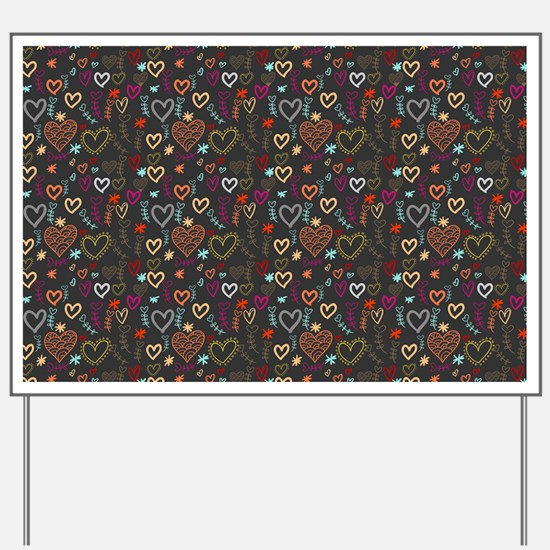 Cute Doodle Hearts Pattern Background Yard Sign