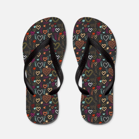 Cute Doodle Hearts Pattern Background Flip Flops
