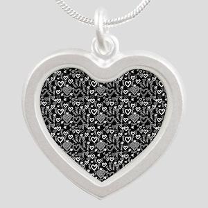 Cute Doodle Hearts Pattern B Silver Heart Necklace
