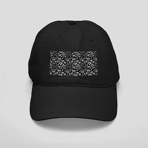Cute Doodle Hearts Pattern Background Black Cap