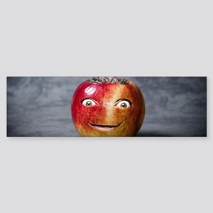 creepy red apple smile face Bumper Sticker