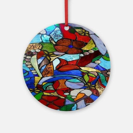 Alicia's Garden Window Shower Cur Ornament (Round)