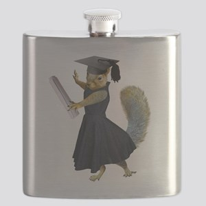 Girl Squirrel Grad Flask