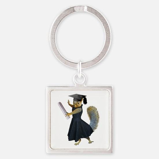 Girl Squirrel Grad Square Keychain