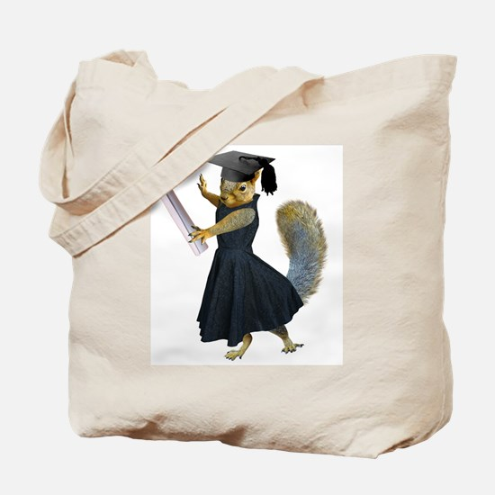 Girl Squirrel Grad Tote Bag