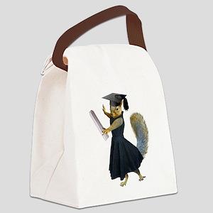 Girl Squirrel Grad Canvas Lunch Bag