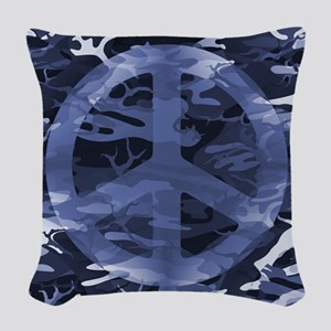 Camouflage Peace Sign Woven Throw Pillow
