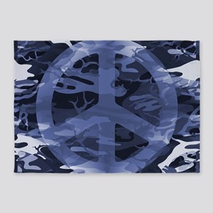 Camouflage Peace Sign 5'x7'Area Rug