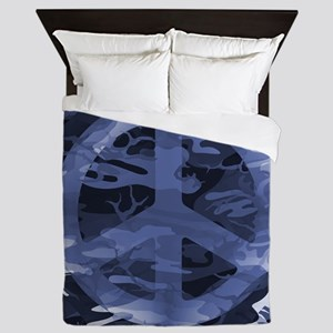 Camouflage Peace Sign Queen Duvet