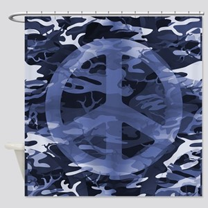 Camouflage Peace Sign Shower Curtain