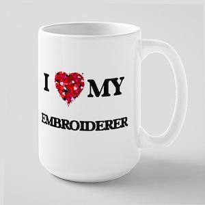 I love my Embroiderer hearts design Mugs