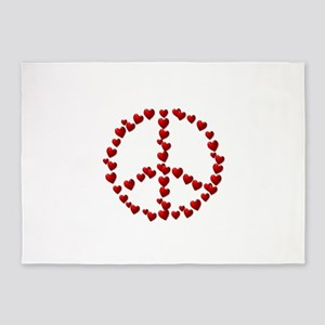 Red Hearts Peace Symbol 5'x7'Area Rug