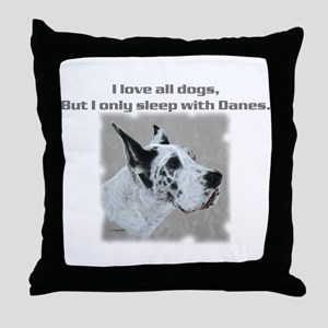 Sleep with Danes Throw Pillow