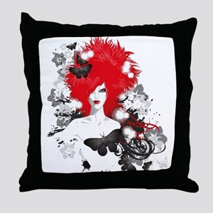 Red Hairs Throw Pillow