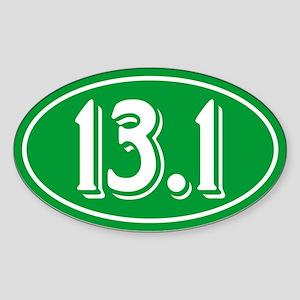 13.1 Half Marathon Oval Green Sticker