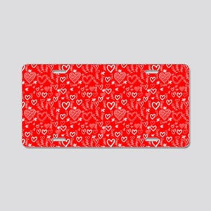 Cute Doodle Hearts Pattern Aluminum License Plate