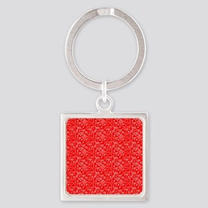 Cute Doodle Hearts Pattern Backgro Square Keychain