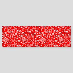Cute Doodle Hearts Pattern Backgr Sticker (Bumper)