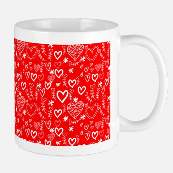 Cute Doodle Hearts Pattern Background Mug