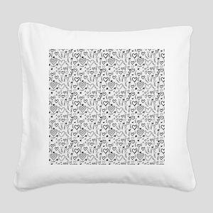 Cute Doodle Hearts Pattern Ba Square Canvas Pillow