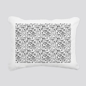 Cute Doodle Hearts Patte Rectangular Canvas Pillow