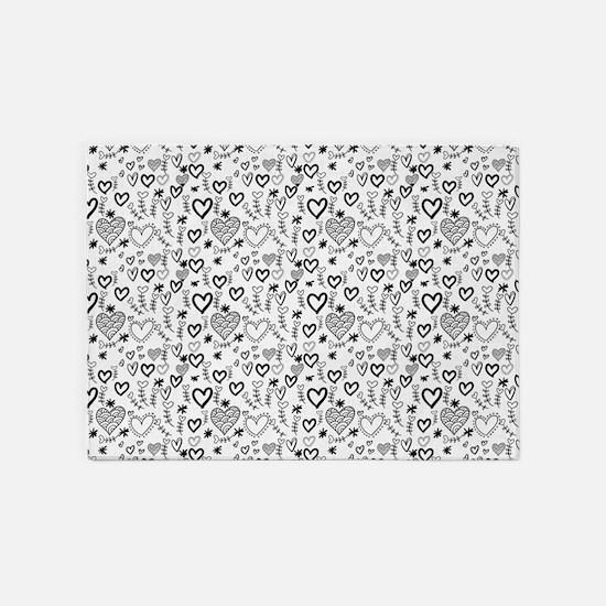Cute Doodle Hearts Pattern Backgrou 5'x7'Area Rug