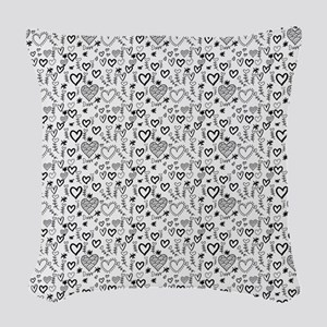 Cute Doodle Hearts Pattern Bac Woven Throw Pillow