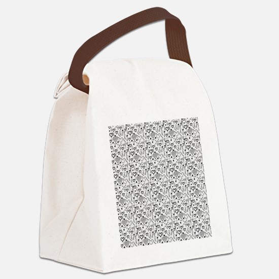 Cute Doodle Hearts Pattern Backgr Canvas Lunch Bag