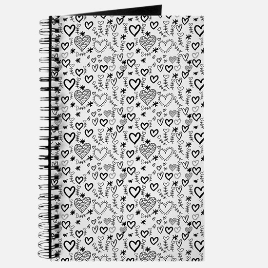 Cute Doodle Hearts Pattern Background Journal